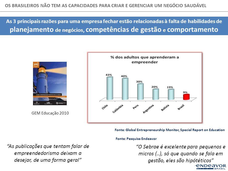 OS BRASILEIROS NÃO TEM AS CAPACIDADES PARA CRIAR E GERENCIAR UM NEGÓCIO SAUDÁVEL