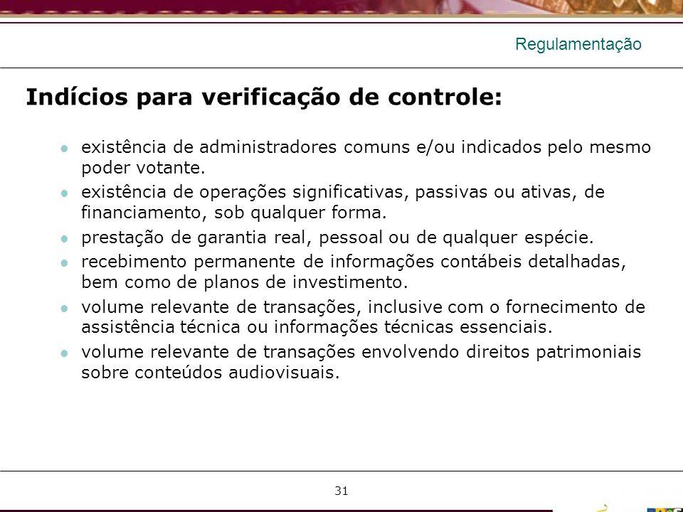 Indícios para verificação de controle: