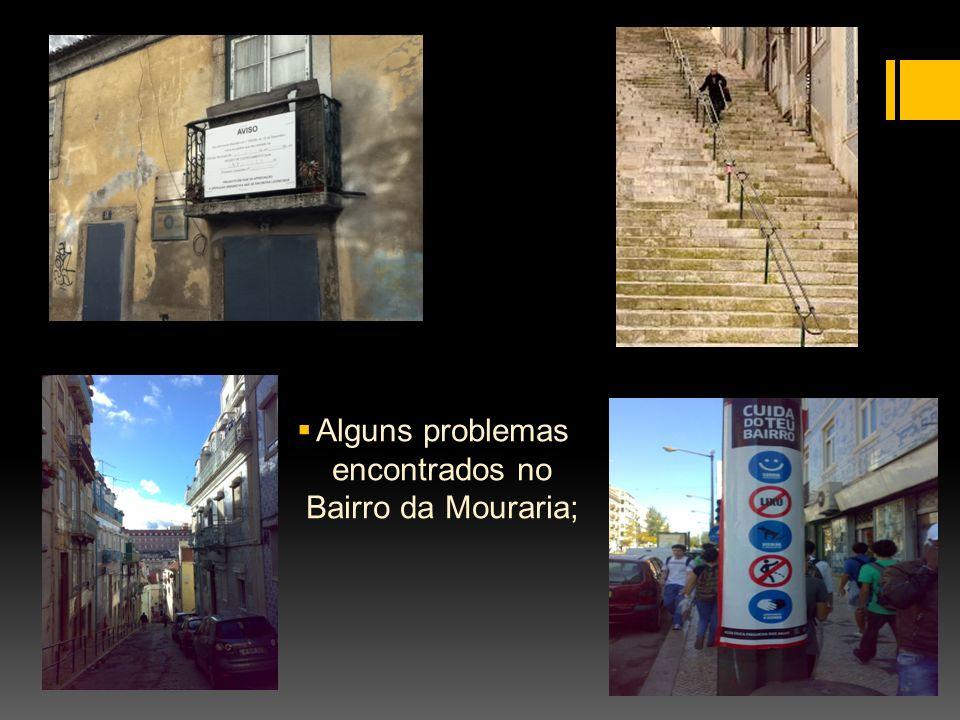 Alguns problemas encontrados no Bairro da Mouraria;