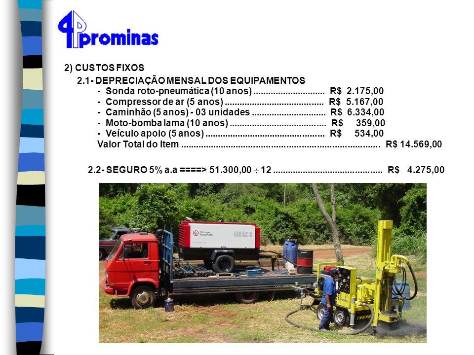 2) CUSTOS FIXOS 2.1- DEPRECIAÇÃO MENSAL DOS EQUIPAMENTOS. - Sonda roto-pneumática (10 anos) ............................. R$ 2.175,00.