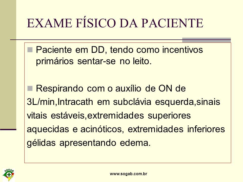 EXAME FÍSICO DA PACIENTE