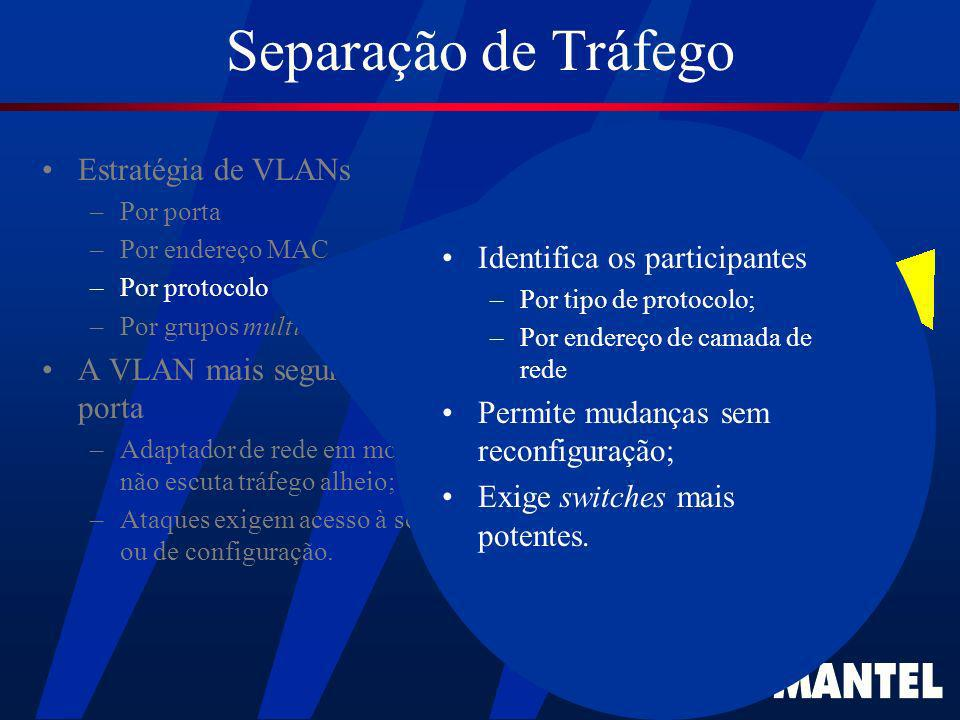 Separação de Tráfego Estratégia de VLANs Identifica os participantes