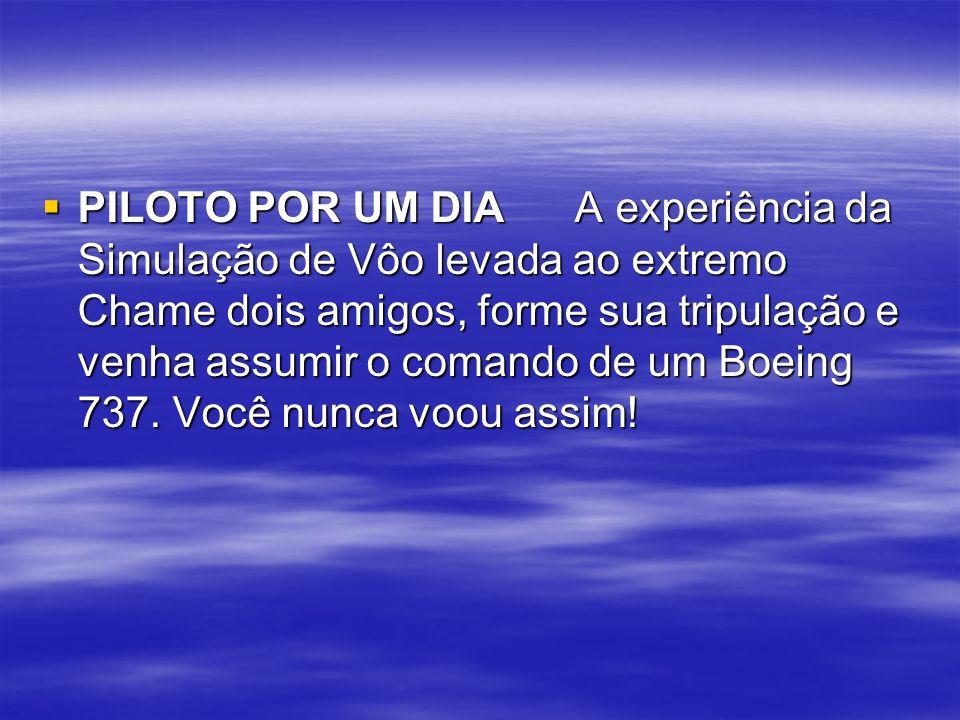 PILOTO POR UM DIA A experiência da Simulação de Vôo levada ao extremo Chame dois amigos, forme sua tripulação e venha assumir o comando de um Boeing 737.