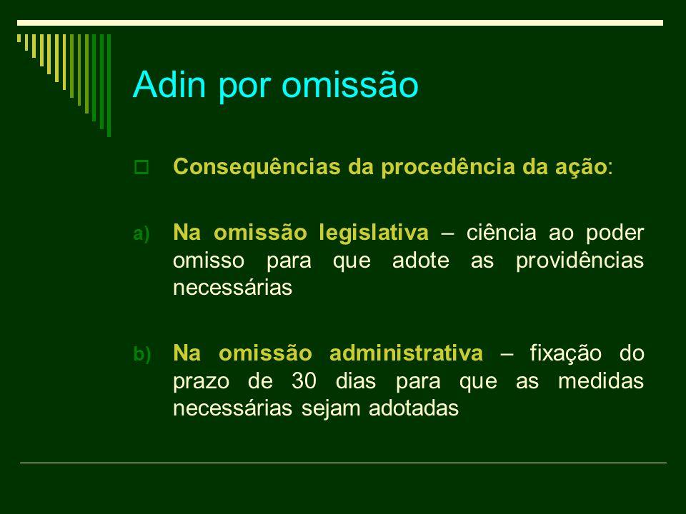 Adin por omissão Consequências da procedência da ação: