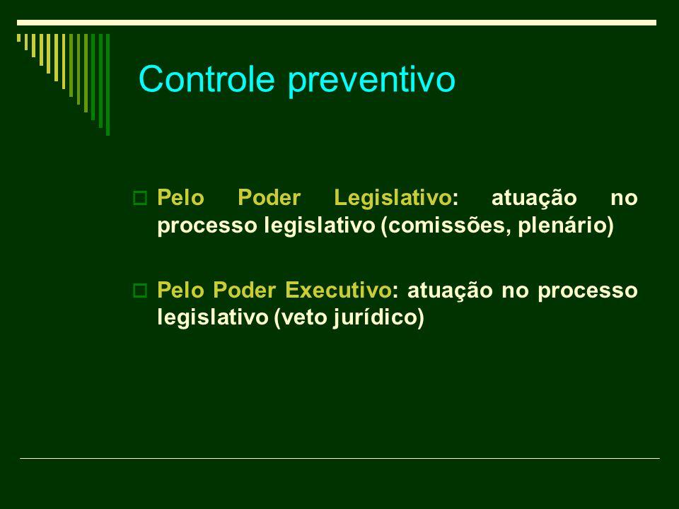 Controle preventivo Pelo Poder Legislativo: atuação no processo legislativo (comissões, plenário)