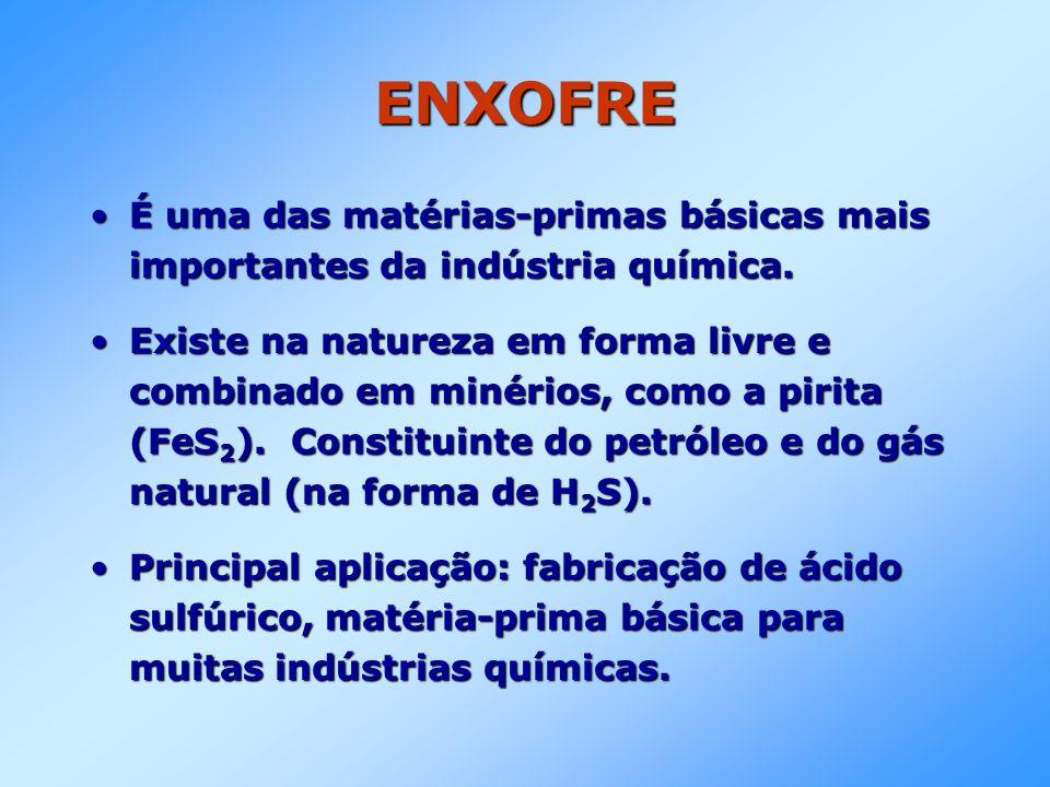 ENXOFRE É uma das matérias-primas básicas mais importantes da indústria química.