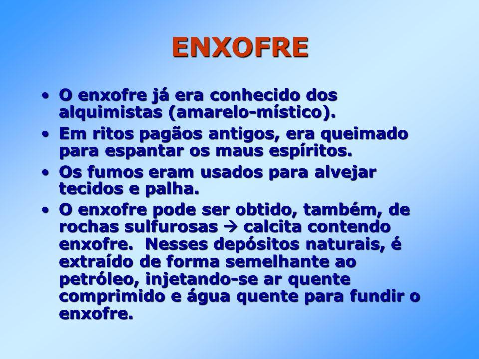 ENXOFRE O enxofre já era conhecido dos alquimistas (amarelo-místico).