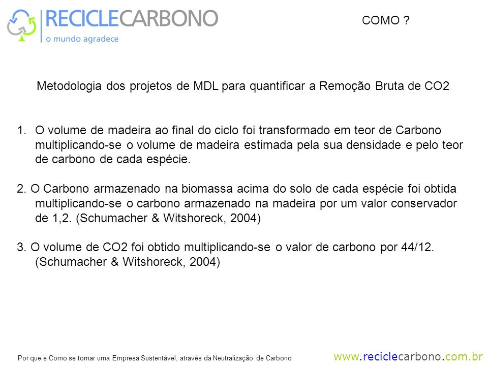 COMO Metodologia dos projetos de MDL para quantificar a Remoção Bruta de CO2.