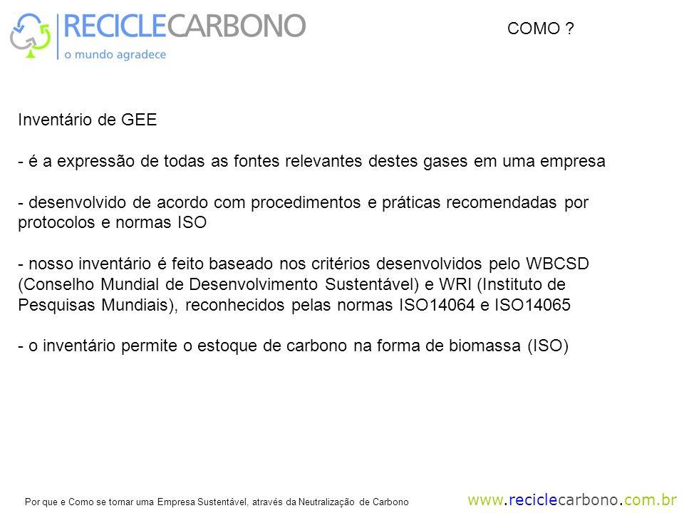 COMO Inventário de GEE. é a expressão de todas as fontes relevantes destes gases em uma empresa.