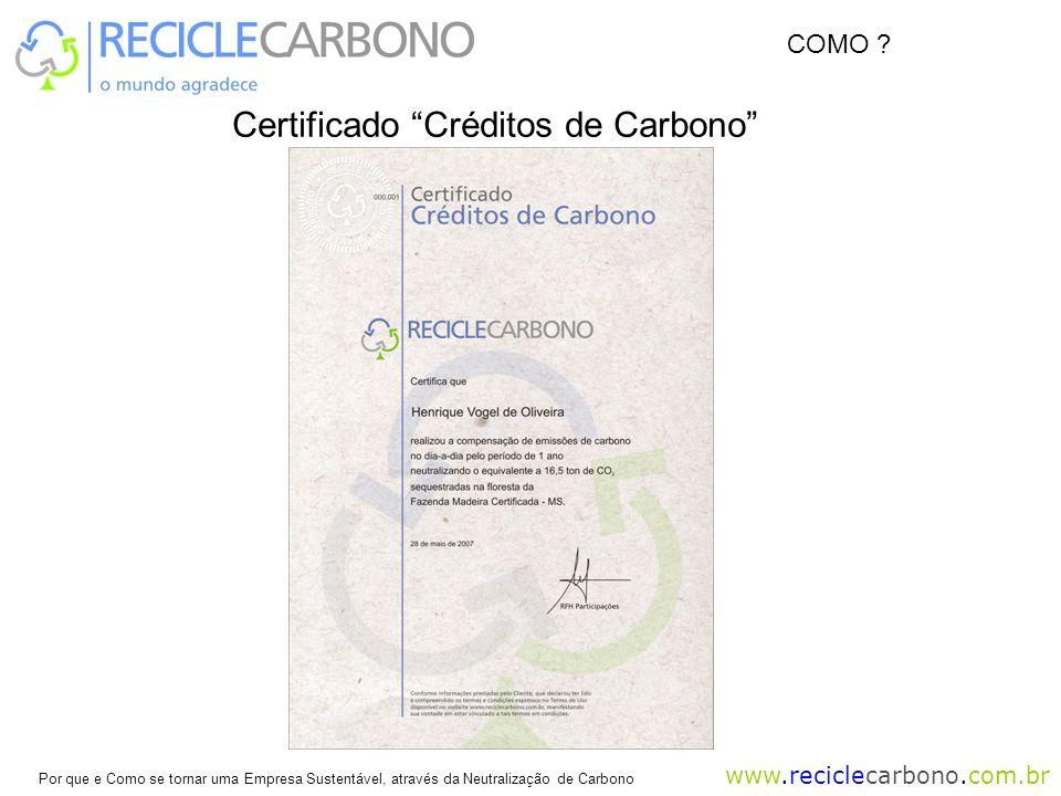 Certificado Créditos de Carbono