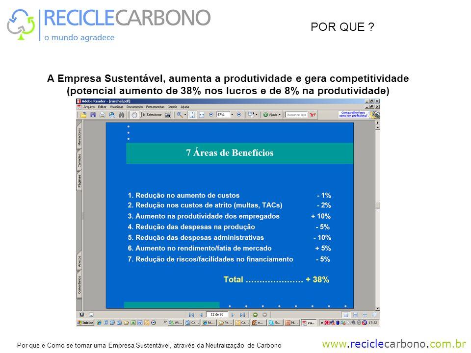 POR QUE . A Empresa Sustentável, aumenta a produtividade e gera competitividade.