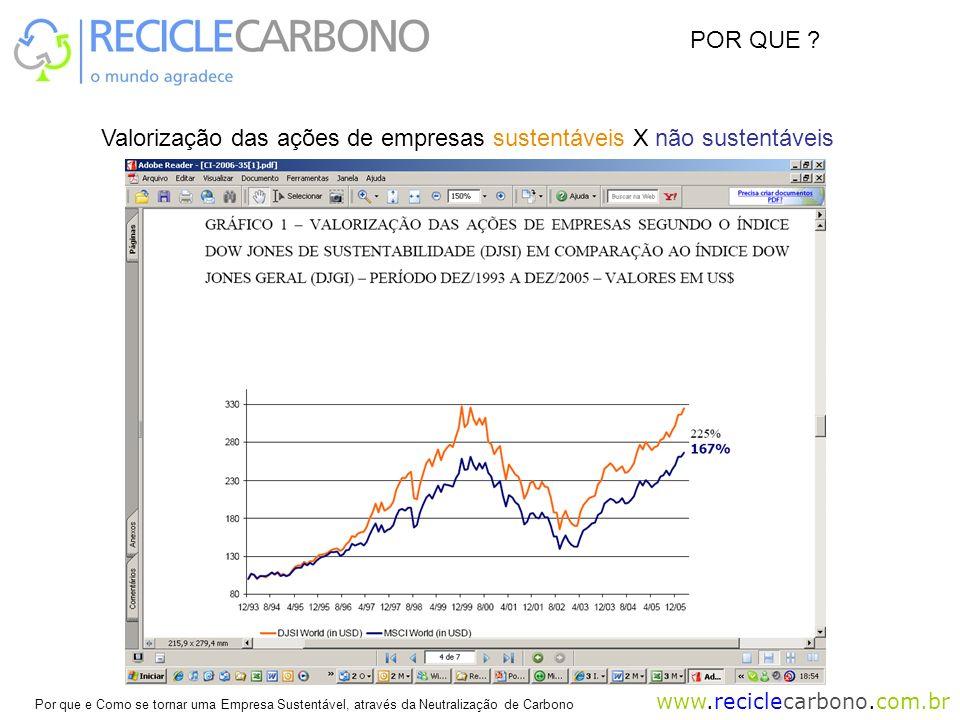 POR QUE Valorização das ações de empresas sustentáveis X não sustentáveis