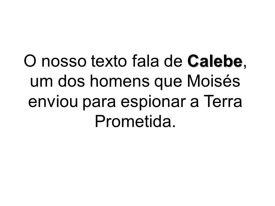 O nosso texto fala de Calebe, um dos homens que Moisés enviou para espionar a Terra Prometida.