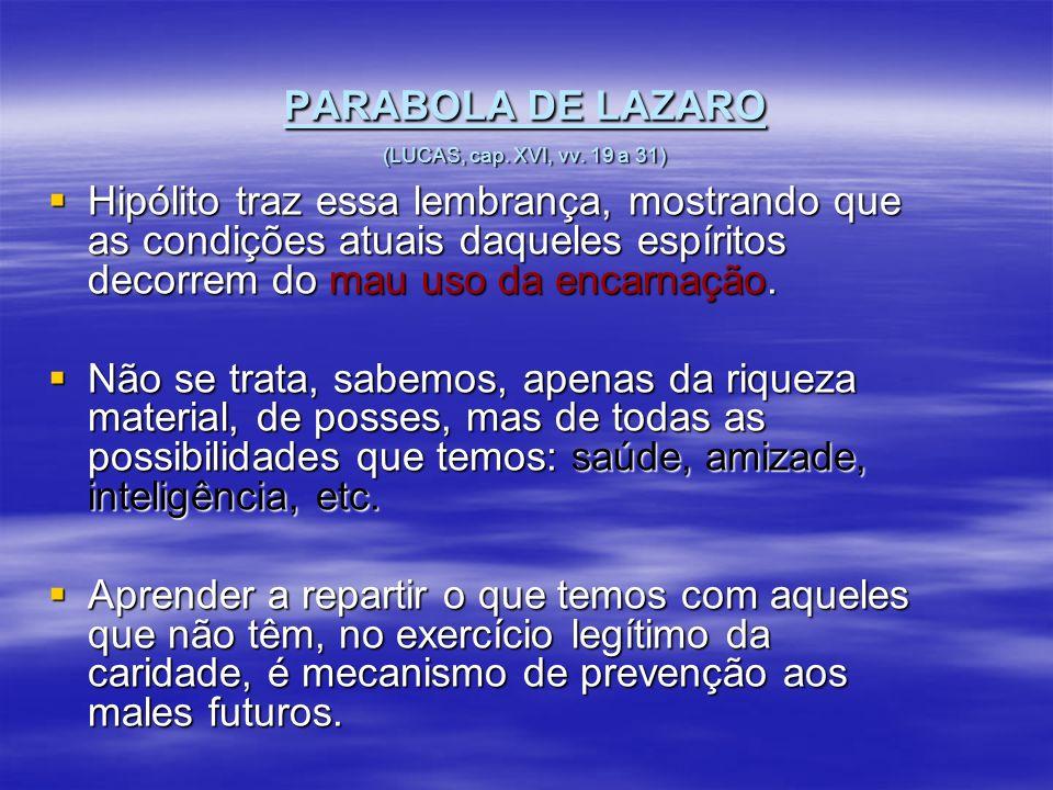 PARABOLA DE LAZARO (LUCAS, cap. XVI, vv. 19 a 31)