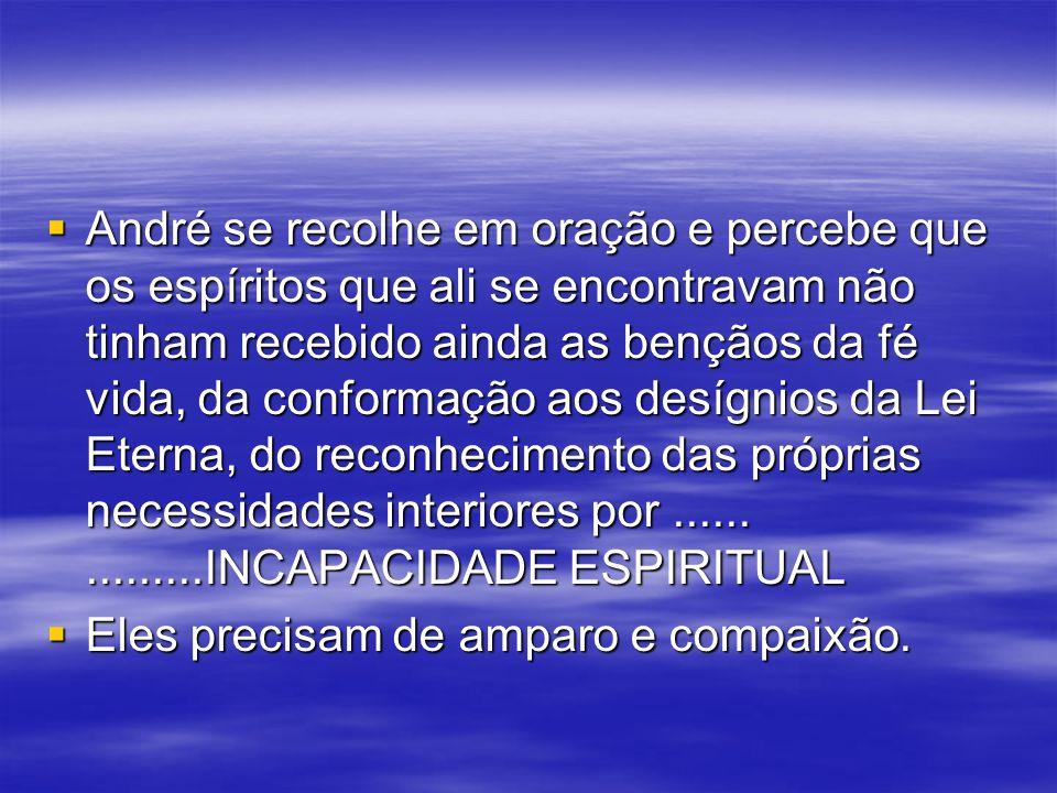 André se recolhe em oração e percebe que os espíritos que ali se encontravam não tinham recebido ainda as bençãos da fé vida, da conformação aos desígnios da Lei Eterna, do reconhecimento das próprias necessidades interiores por ...... .........INCAPACIDADE ESPIRITUAL