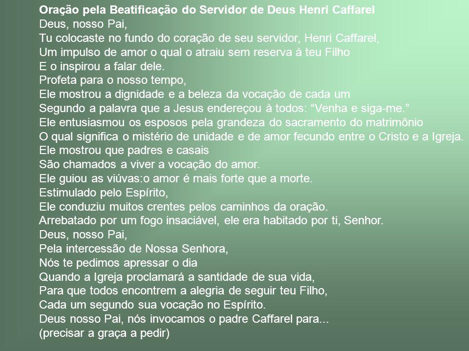 Oração pela Beatificação do Servidor de Deus Henri Caffarel
