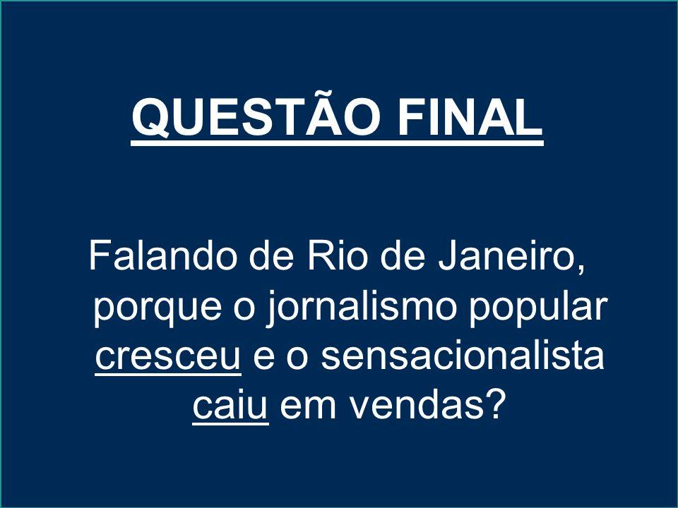 QUESTÃO FINAL Falando de Rio de Janeiro, porque o jornalismo popular cresceu e o sensacionalista caiu em vendas