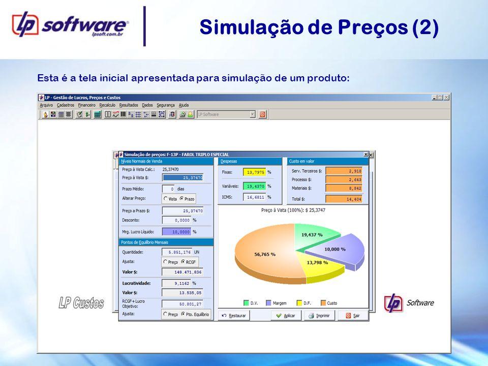 Esta é a tela inicial apresentada para simulação de um produto: