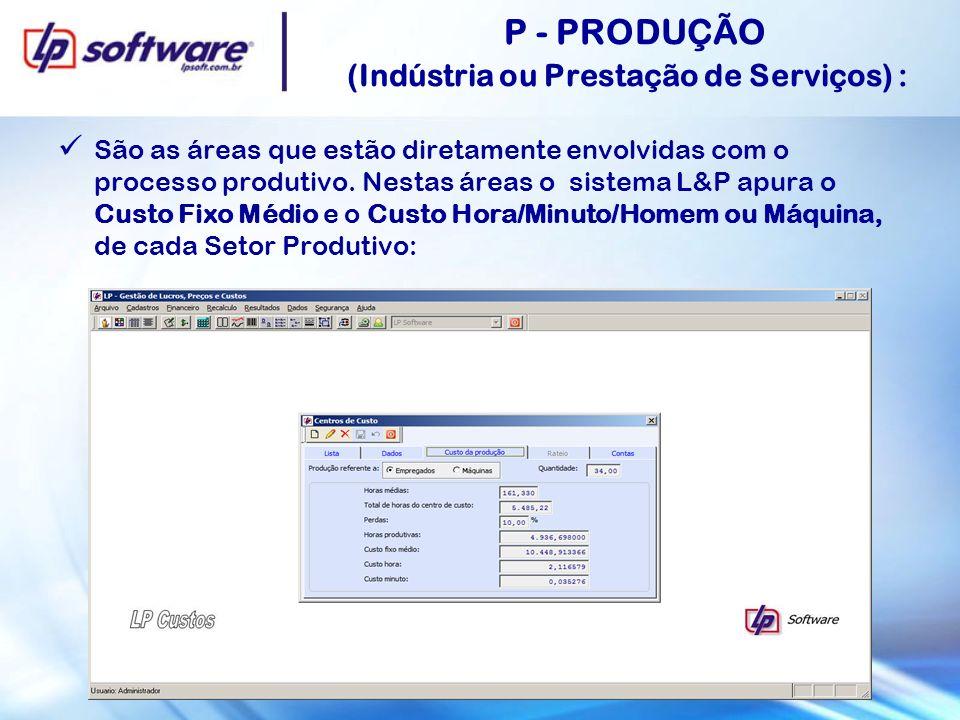 P - PRODUÇÃO (Indústria ou Prestação de Serviços) :