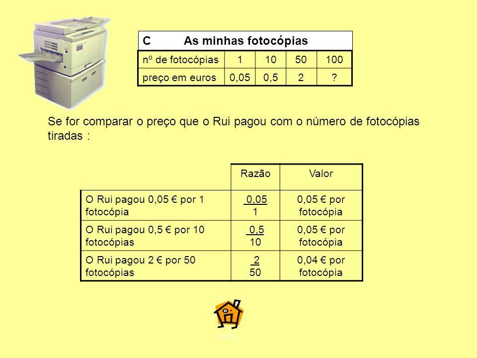 C As minhas fotocópias nº de fotocópias. 1. 10. 50. 100. preço em euros. 0,05. 0,5.