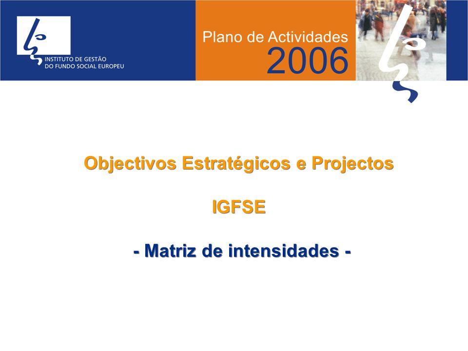 Objectivos Estratégicos e Projectos - Matriz de intensidades -