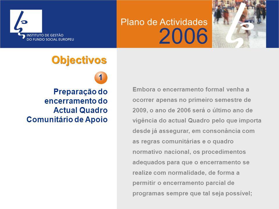 Objectivos Preparação do encerramento do Actual Quadro Comunitário de Apoio. 1.