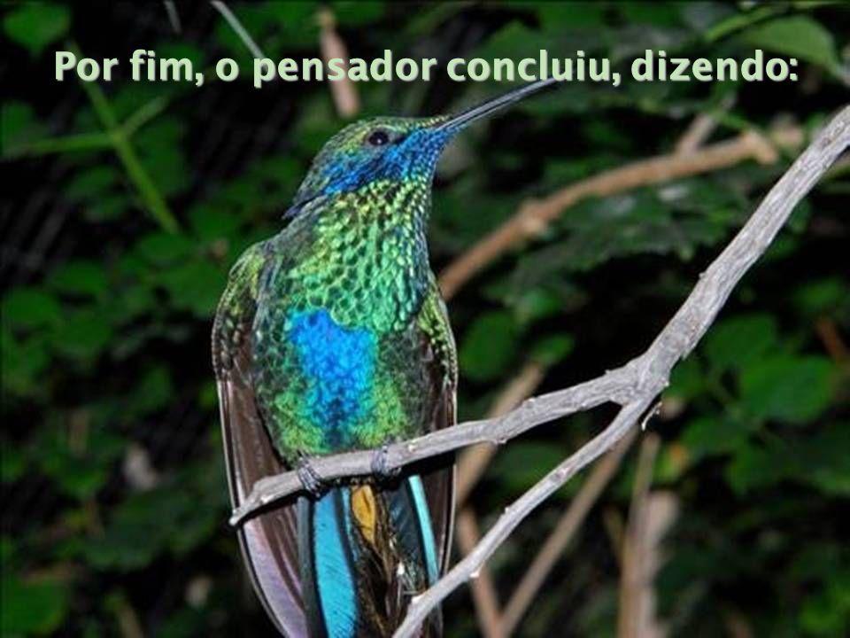 Por fim, o pensador concluiu, dizendo: