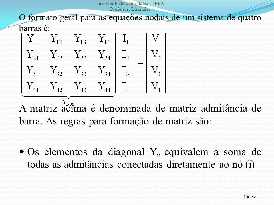 O formato geral para as equações nodais de um sistema de quatro barras é: