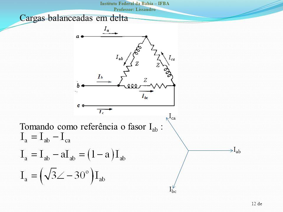 Cargas balanceadas em delta Tomando como referência o fasor Iab :