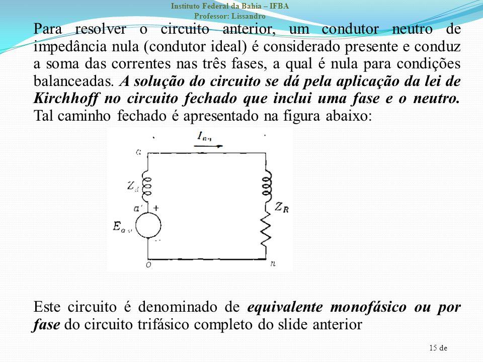 Para resolver o circuito anterior, um condutor neutro de impedância nula (condutor ideal) é considerado presente e conduz a soma das correntes nas três fases, a qual é nula para condições balanceadas.