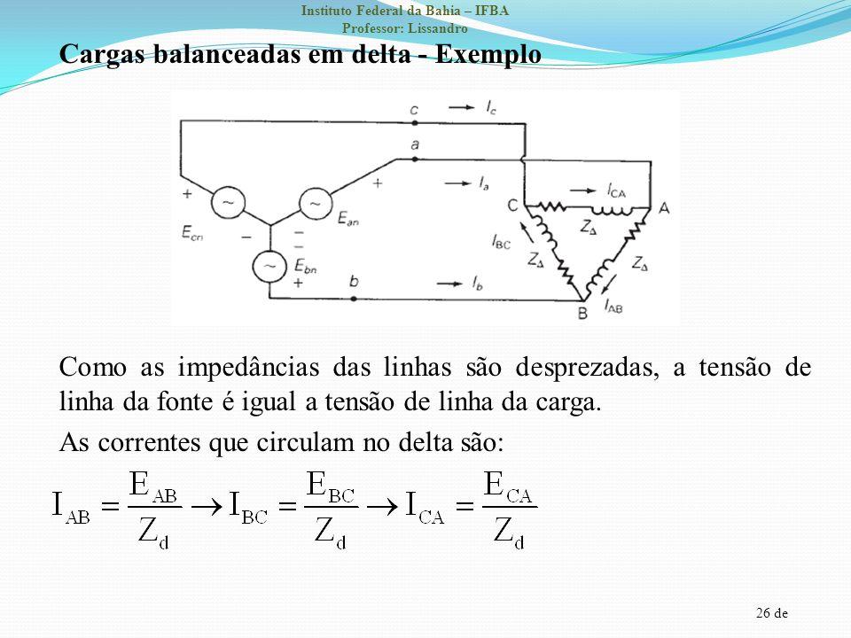 Cargas balanceadas em delta - Exemplo Como as impedâncias das linhas são desprezadas, a tensão de linha da fonte é igual a tensão de linha da carga.
