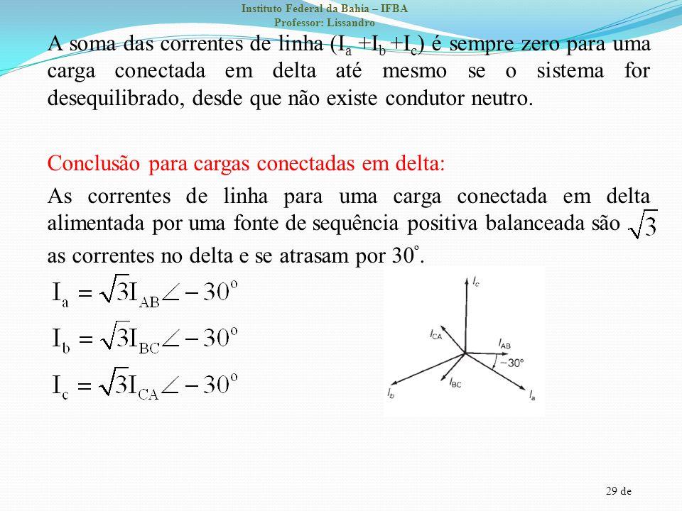 A soma das correntes de linha (Ia +Ib +Ic) é sempre zero para uma carga conectada em delta até mesmo se o sistema for desequilibrado, desde que não existe condutor neutro.
