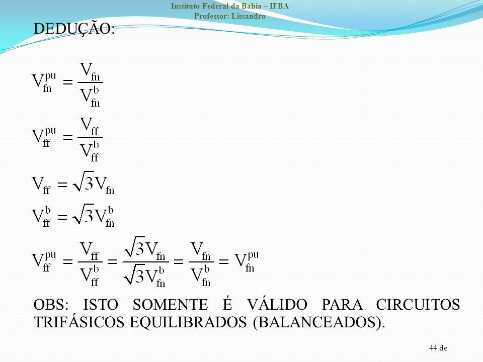 DEDUÇÃO: OBS: ISTO SOMENTE É VÁLIDO PARA CIRCUITOS TRIFÁSICOS EQUILIBRADOS (BALANCEADOS).