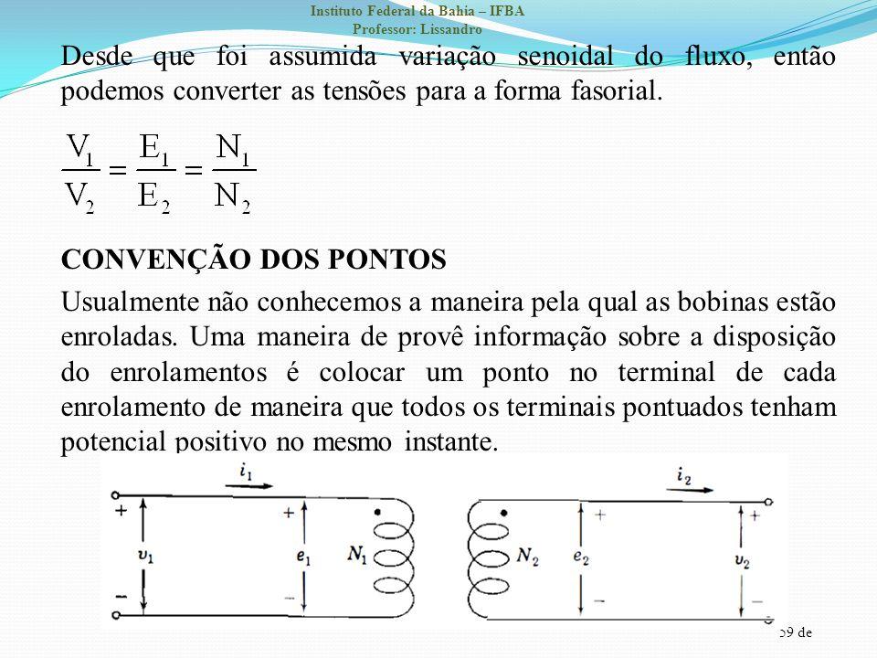 Desde que foi assumida variação senoidal do fluxo, então podemos converter as tensões para a forma fasorial.
