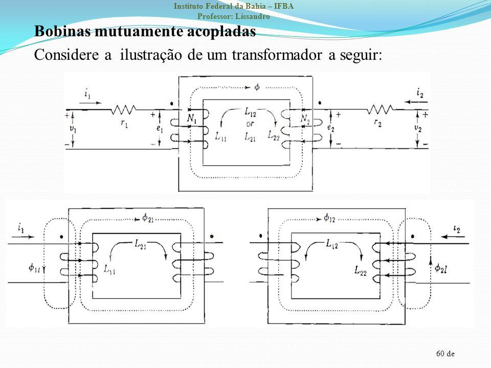 Bobinas mutuamente acopladas Considere a ilustração de um transformador a seguir: