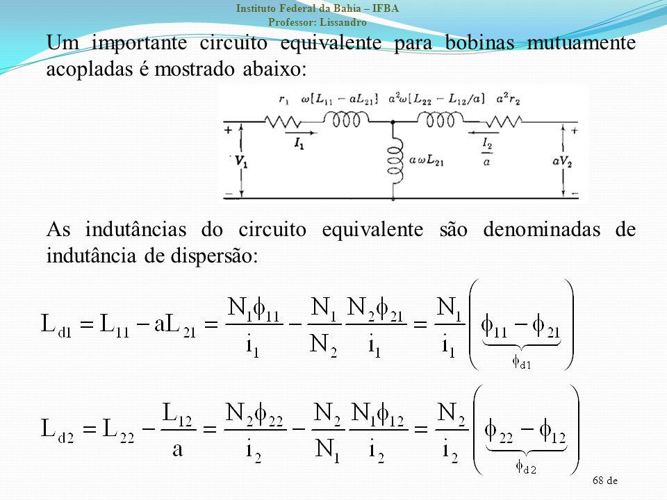 Um importante circuito equivalente para bobinas mutuamente acopladas é mostrado abaixo: As indutâncias do circuito equivalente são denominadas de indutância de dispersão: