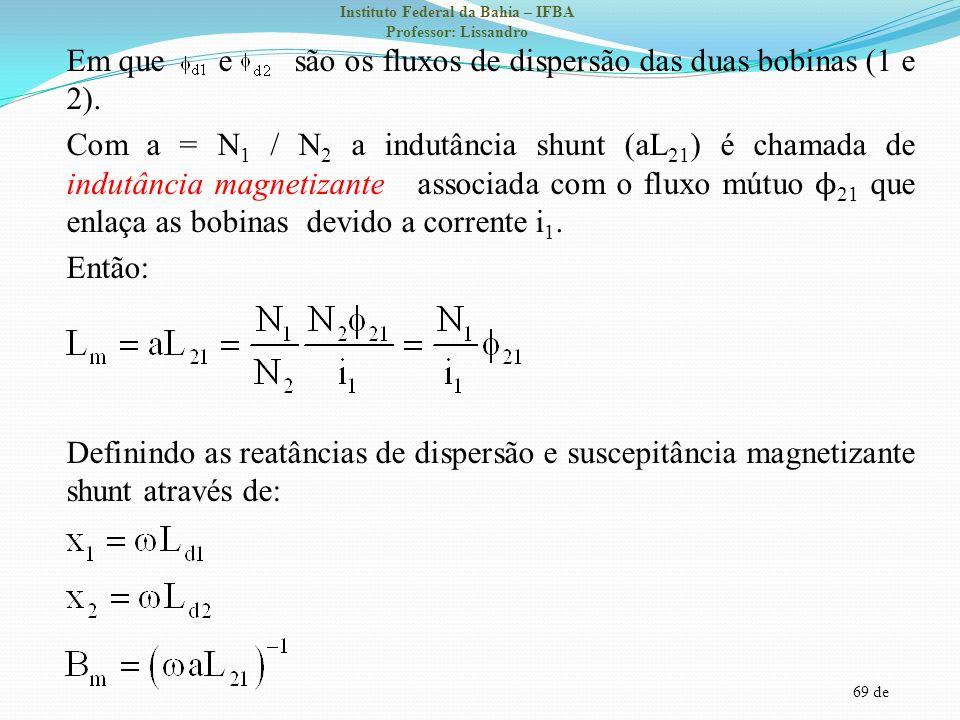 Em que e são os fluxos de dispersão das duas bobinas (1 e 2)