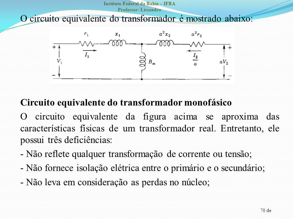 O circuito equivalente do transformador é mostrado abaixo: Circuito equivalente do transformador monofásico O circuito equivalente da figura acima se aproxima das características físicas de um transformador real.