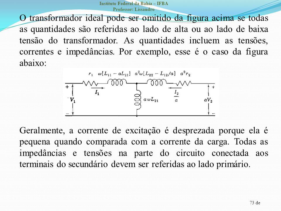O transformador ideal pode ser omitido da figura acima se todas as quantidades são referidas ao lado de alta ou ao lado de baixa tensão do transformador.