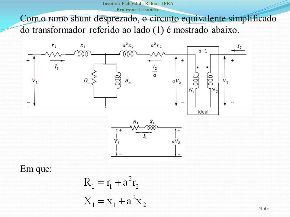 Com o ramo shunt desprezado, o circuito equivalente simplificado do transformador referido ao lado (1) é mostrado abaixo.