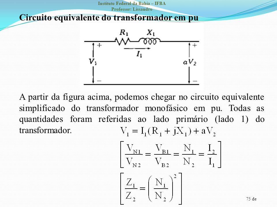 Circuito equivalente do transformador em pu A partir da figura acima, podemos chegar no circuito equivalente simplificado do transformador monofásico em pu.