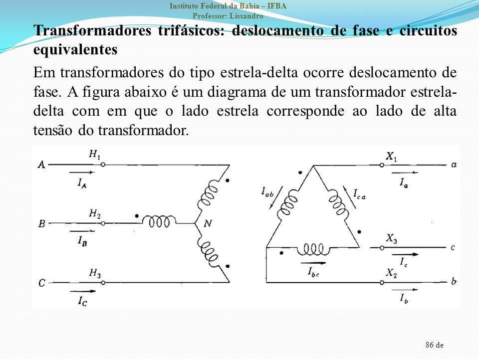 Transformadores trifásicos: deslocamento de fase e circuitos equivalentes Em transformadores do tipo estrela-delta ocorre deslocamento de fase.