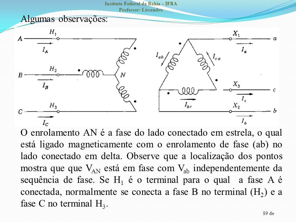 Algumas observações: O enrolamento AN é a fase do lado conectado em estrela, o qual está ligado magneticamente com o enrolamento de fase (ab) no lado conectado em delta.