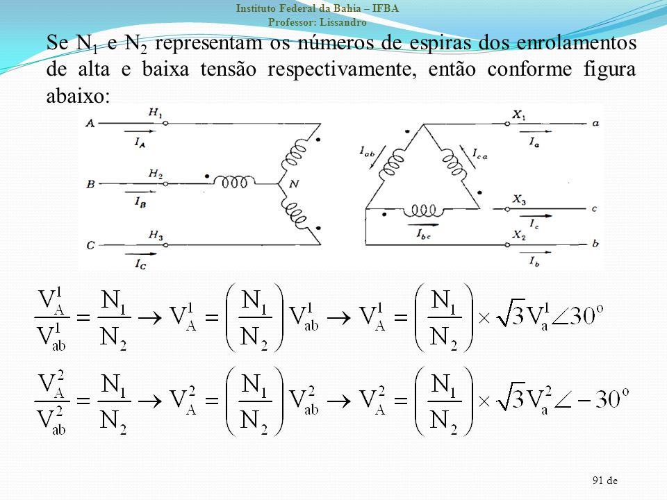Se N1 e N2 representam os números de espiras dos enrolamentos de alta e baixa tensão respectivamente, então conforme figura abaixo: