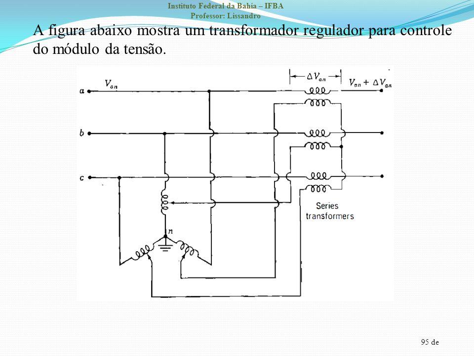 A figura abaixo mostra um transformador regulador para controle do módulo da tensão.