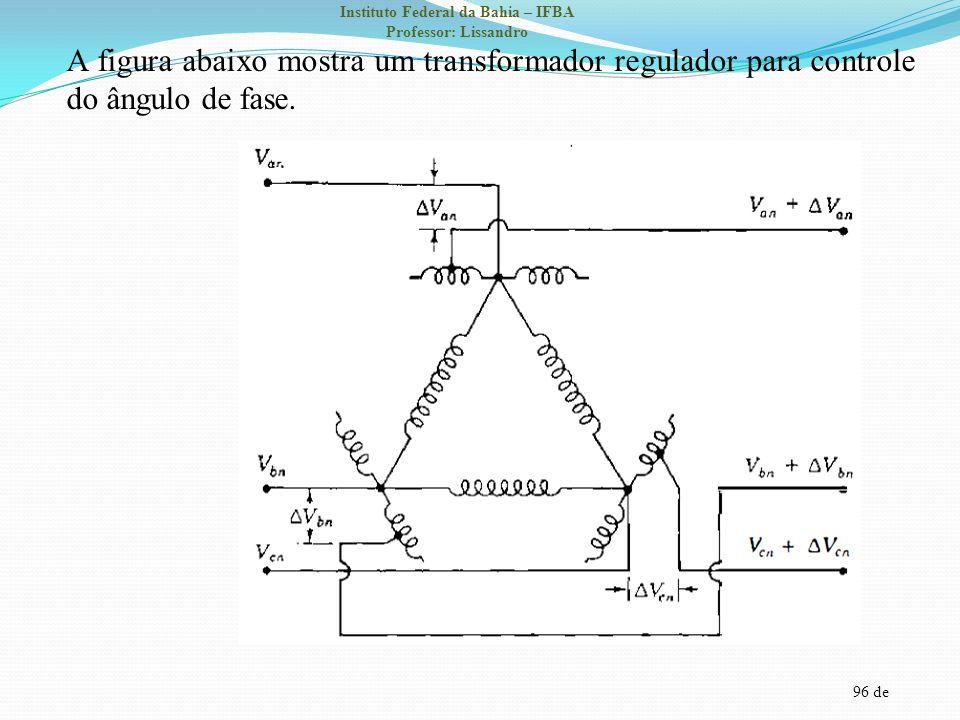 A figura abaixo mostra um transformador regulador para controle do ângulo de fase.