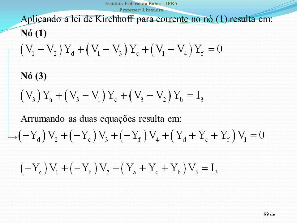 Aplicando a lei de Kirchhoff para corrente no nó (1) resulta em: Nó (1) Nó (3) Arrumando as duas equações resulta em: