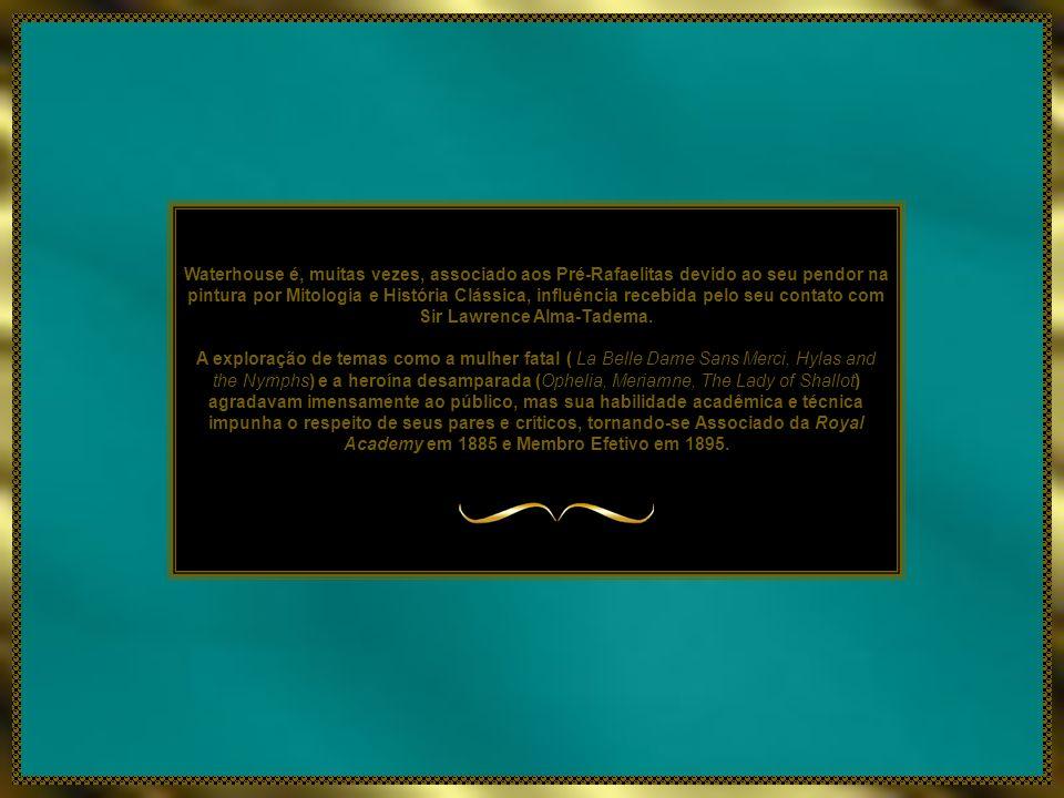Waterhouse é, muitas vezes, associado aos Pré-Rafaelitas devido ao seu pendor na pintura por Mitologia e História Clássica, influência recebida pelo seu contato com Sir Lawrence Alma-Tadema.