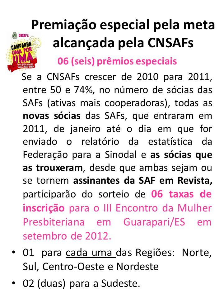 Premiação especial pela meta alcançada pela CNSAFs