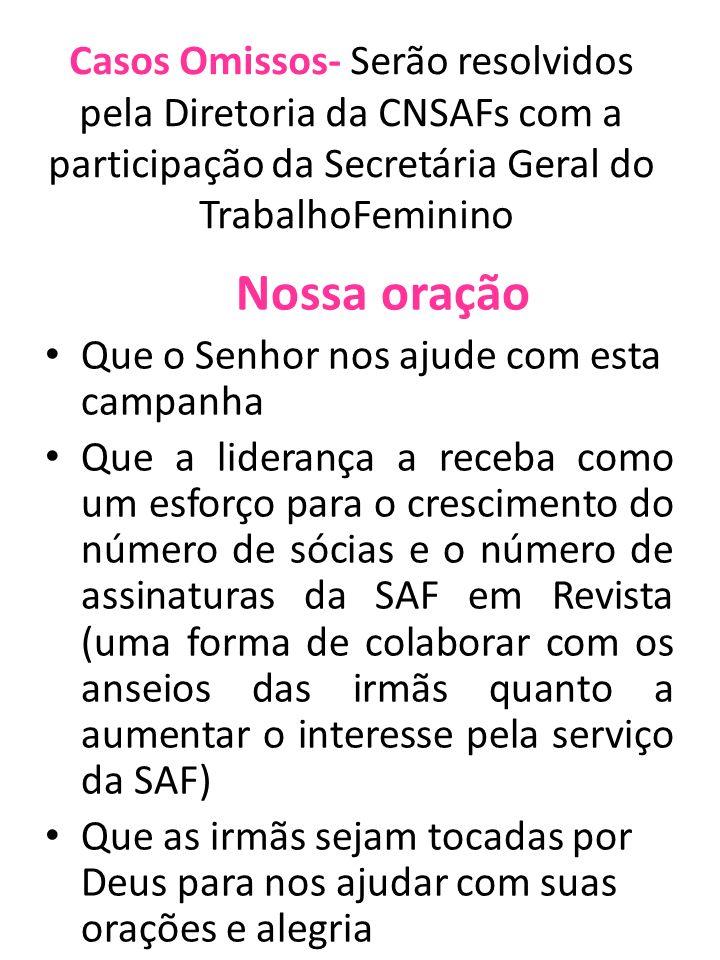 Casos Omissos- Serão resolvidos pela Diretoria da CNSAFs com a participação da Secretária Geral do TrabalhoFeminino